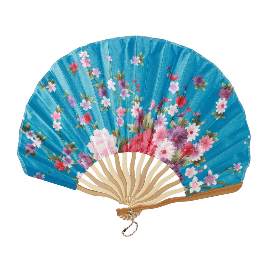 Beige Bamboo Ribs Flower Printed Seashell Shape Folding Hand Fan Teal Blue