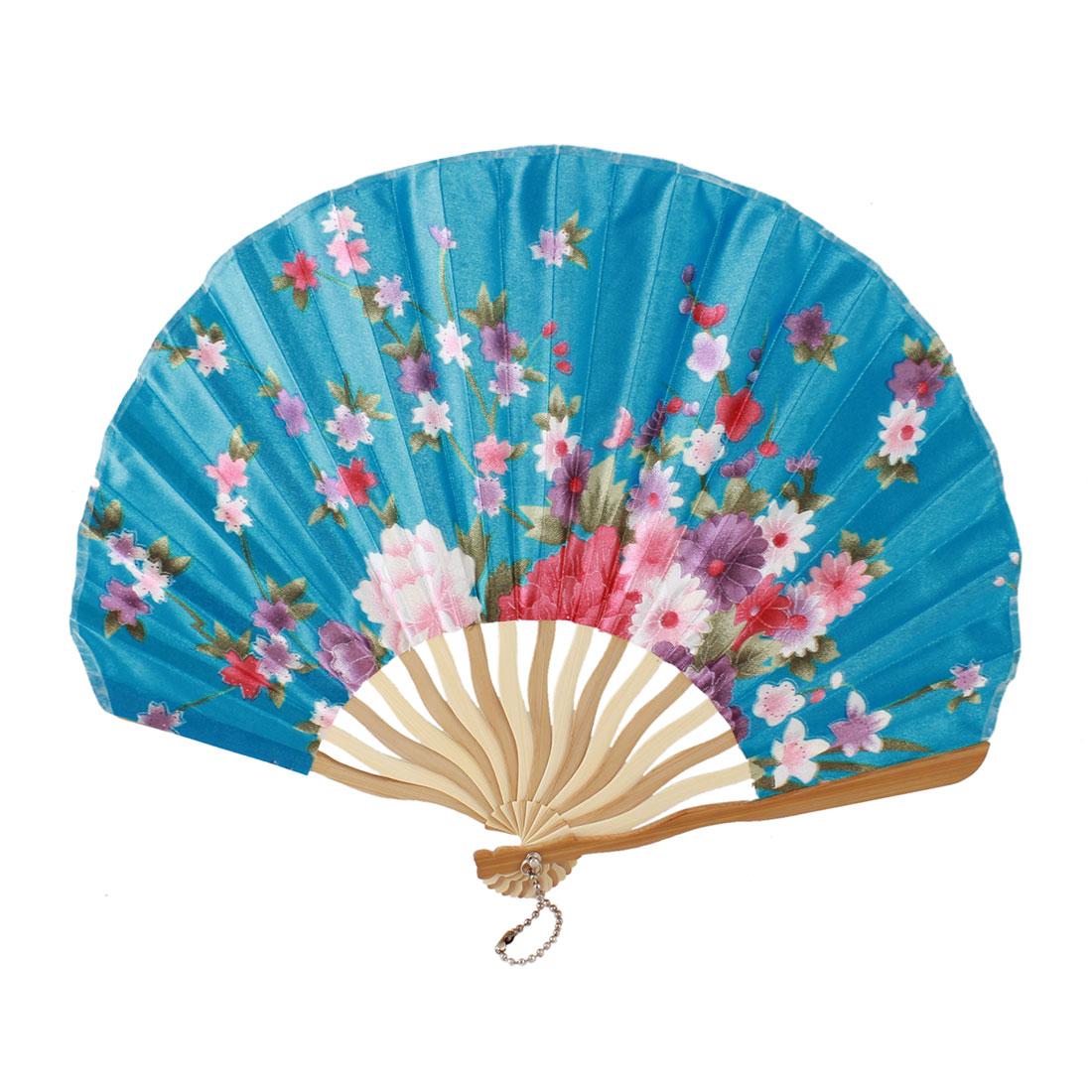 Beige Bamboo Ribs Flower Printed Seashell Shape Folding Hand Fan Teal Blue