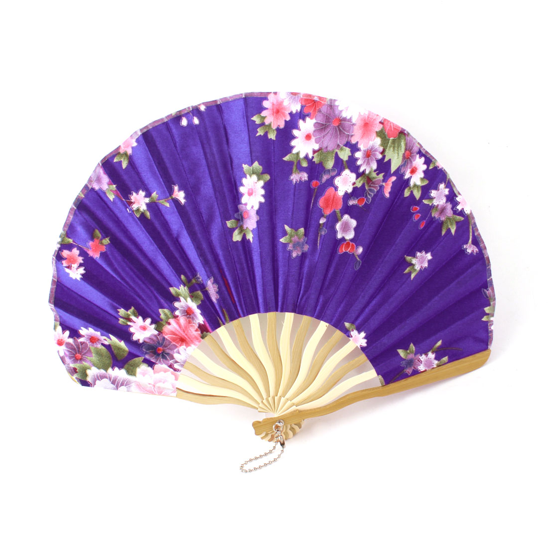 Lady Beige Bamboo Ribs Flower Printed Summer Cool Folding Hand Fan Purple