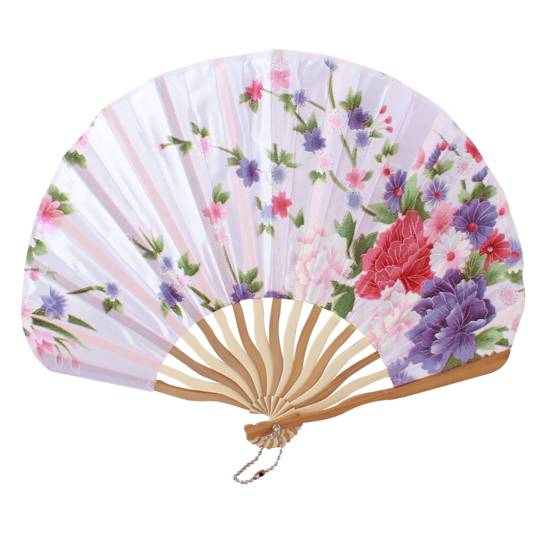 Lady Beige Bamboo Ribs Flower Printed Seashell Shape Folding Hand Fan Pink