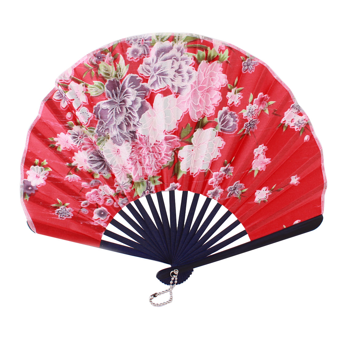 Red Nylon Multicolors Flowers Print Bamboo Handle Folded Hand Fan