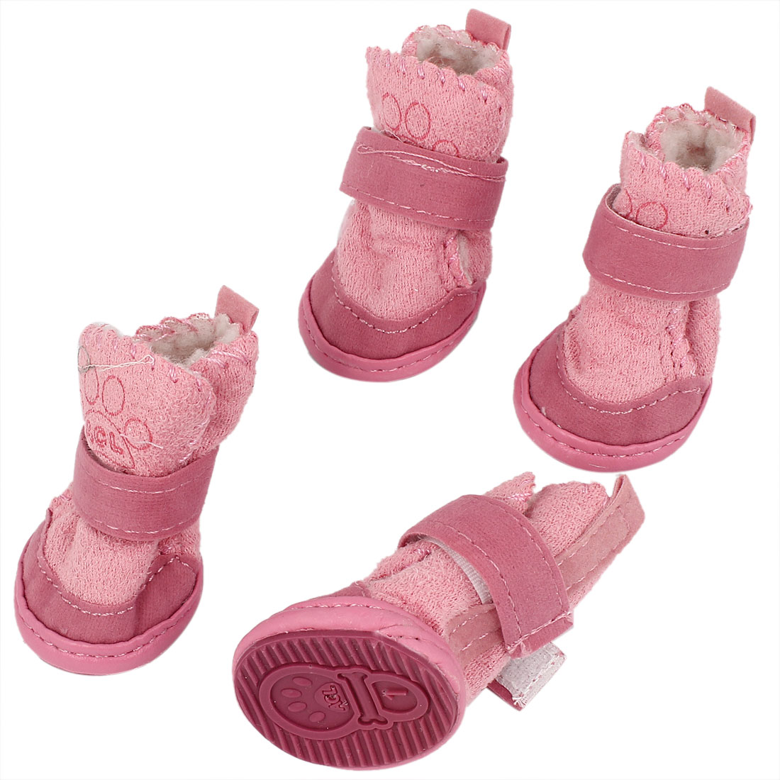2 Pair Detachable Closure Pet Puppy Dog Shoes Booties Boots Pink Size XXS