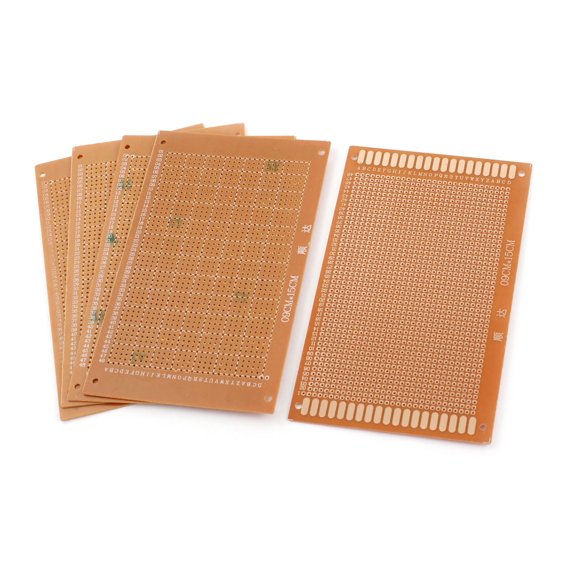 5 Pcs 2.54mm Pitch DIY Brown Single Side Universal PCB Board Prototyping Stripboard Breadboard 9cm x 15cm