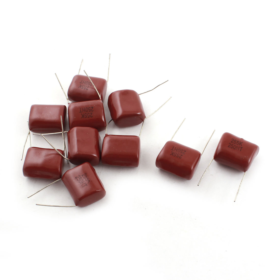 250V 255PF 2.5F Radial Lead Through Hole Mount Rectangle Metallized Polyester Film Capacitor 10 Pcs