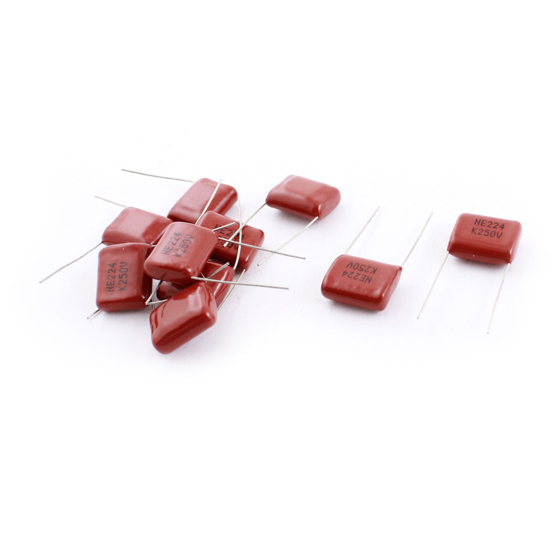 250V 224PF 220nF Radial Lead Through Hole Mount Rectangle Metallized Polyester Film Capacitor 10 Pcs