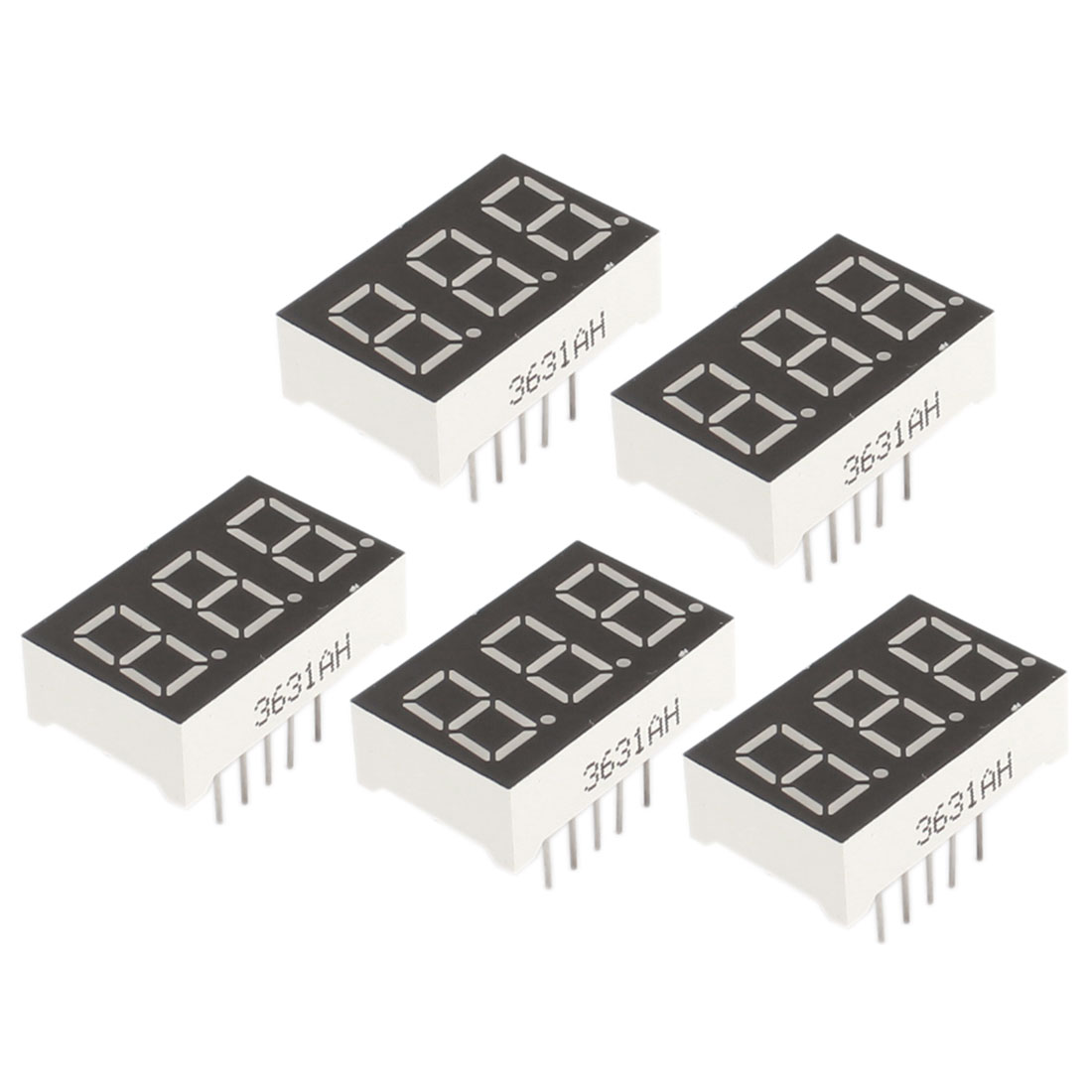 5Pcs 0.36 inch 3-Bit 7-Segment Rectangle Red LED Digit Display Common Cathode Tube 11-Pin