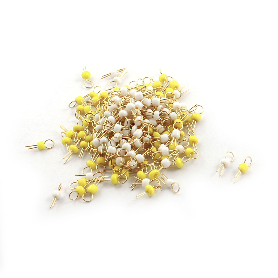200Pcs White + Yellow Ceramic Bead 3.2mm Head Dia Gold Tone Copper PCB Test Pin Terminals