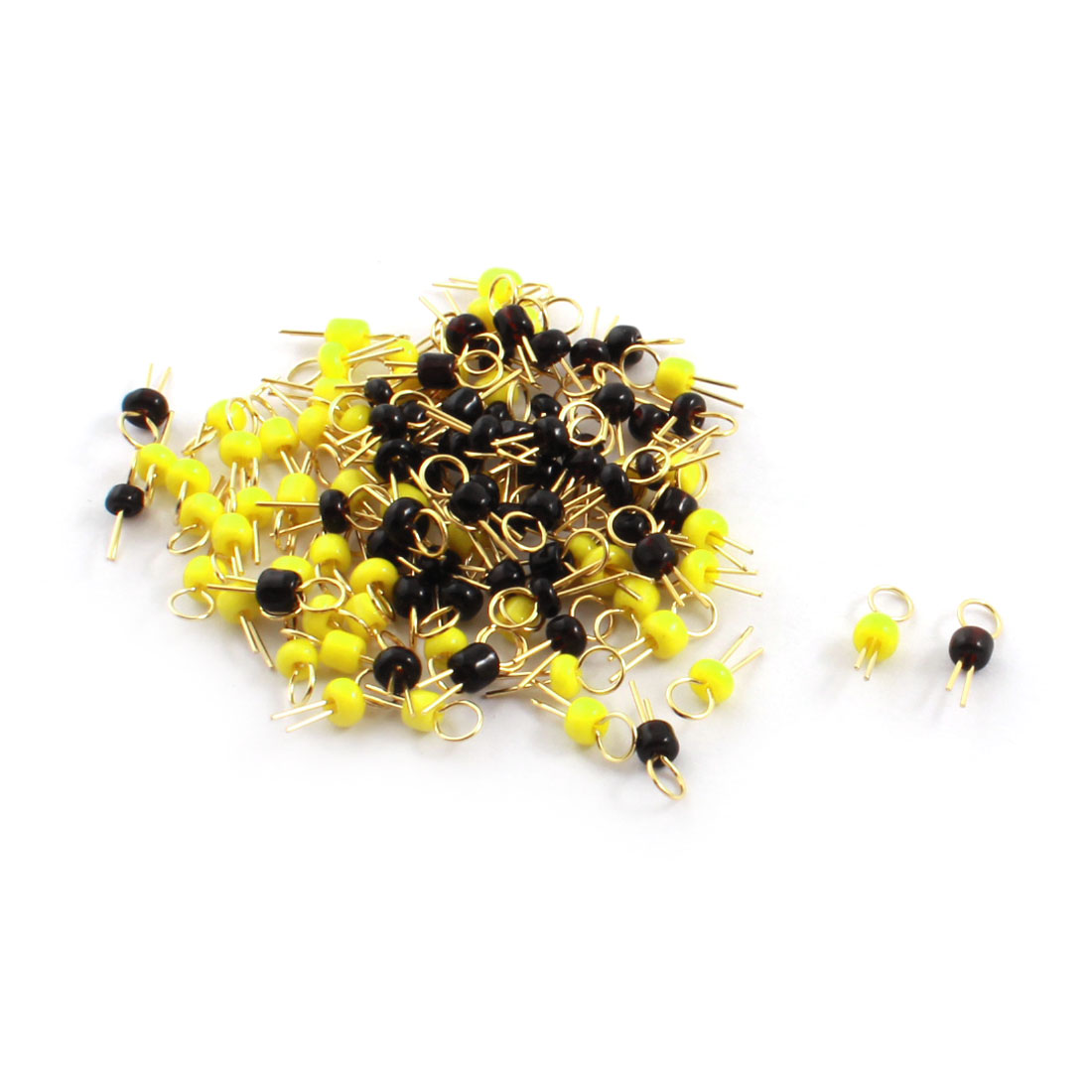 100Pcs Black + Yellow Ceramic Bead 3.2mm Head Dia Gold Tone Copper PCB Test Pin Terminals