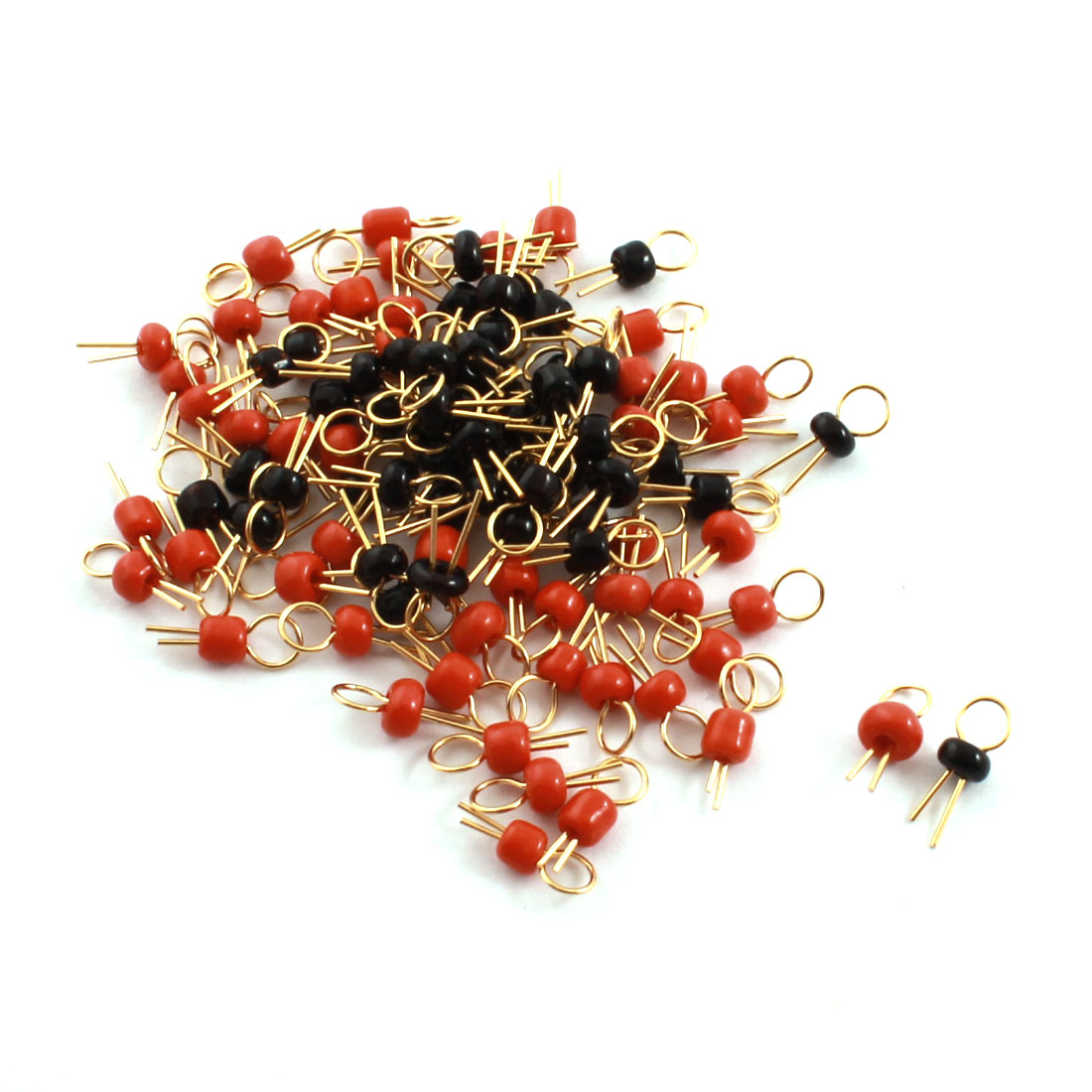 100Pcs Red + Black Ceramic Bead 3.2mm Head Dia Gold Tone Copper PCB Test Pin Terminals