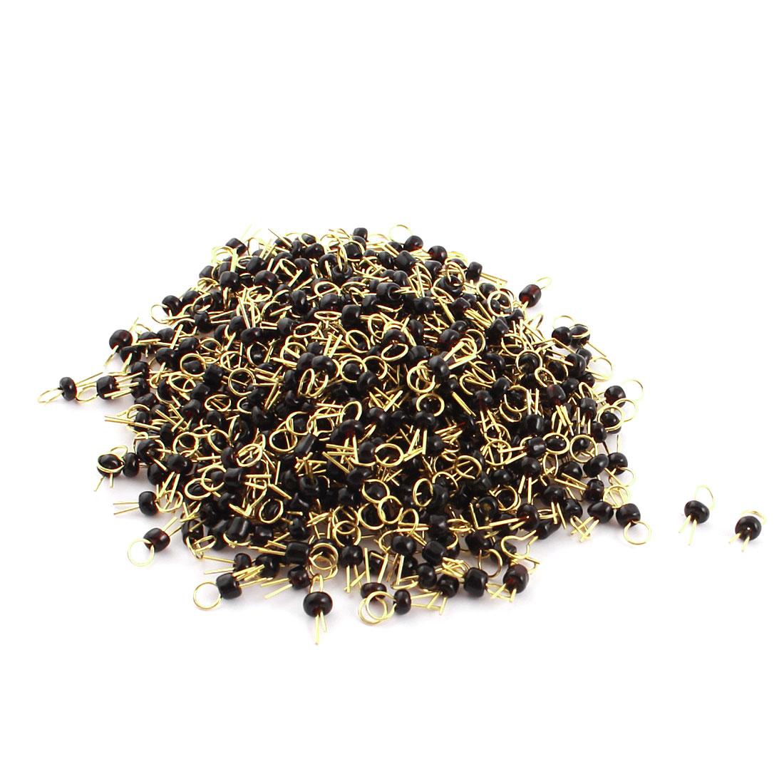 500Pcs Black Ceramic Bead 3.2mm Head Dia Gold Tone Copper PCB Test Pin Terminals