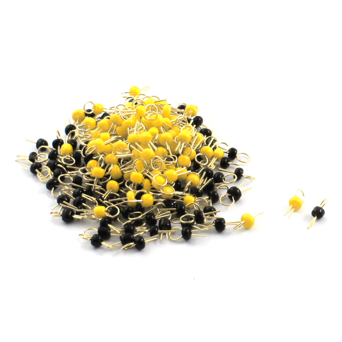 200Pcs Black + Yellow Ceramic Bead 3.2mm Head Dia Gold Tone Copper PCB Test Pin Terminals