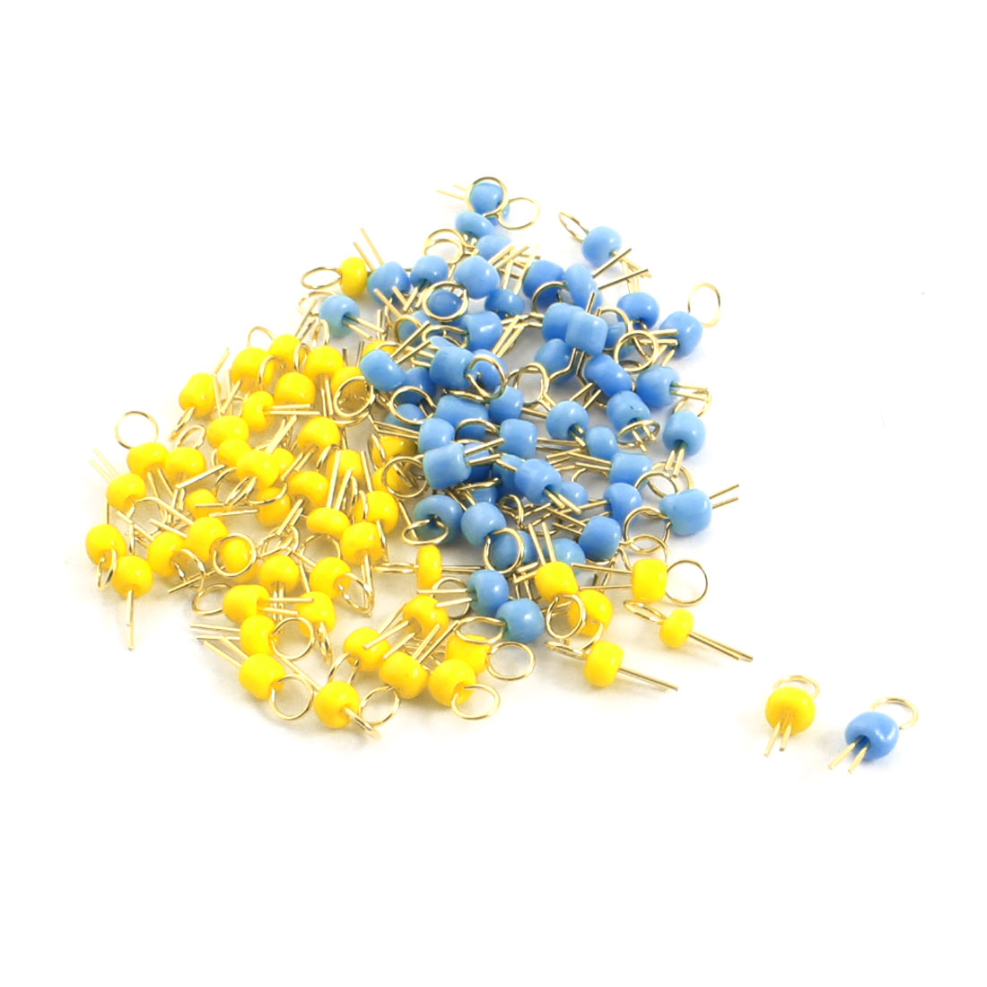 100Pcs Blue + Yellow Ceramic Bead 3.2mm Head Dia Gold Tone Copper PCB Test Pin Terminals