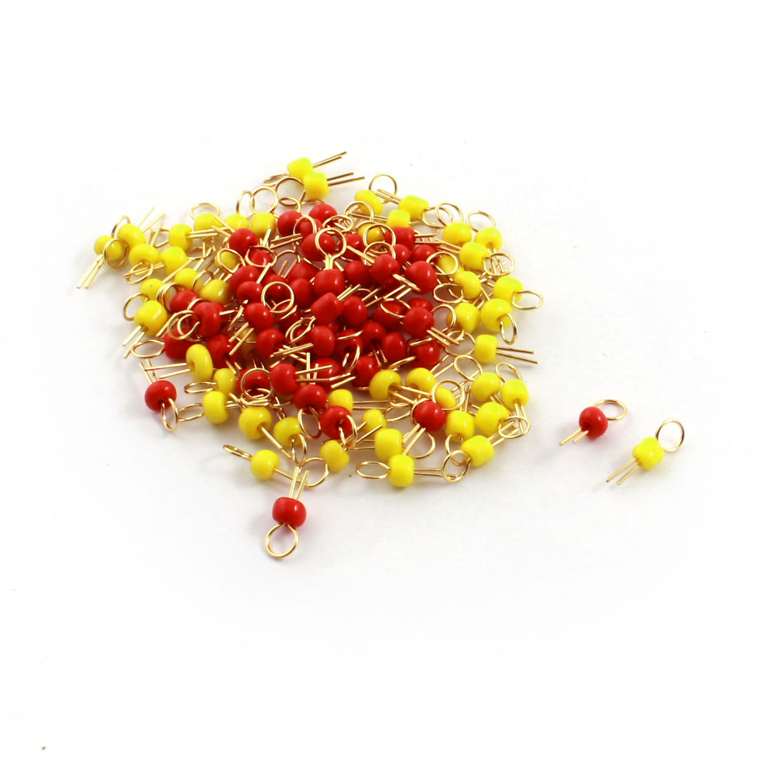 100Pcs Red + Yellow Ceramic Bead 3.2mm Head Dia Gold Tone Copper PCB Test Pin Terminals