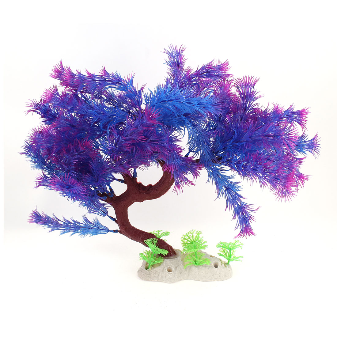 "10.2"" Height Purple Aquarium Ornament Plastic Underwater Pine Tree Plants"