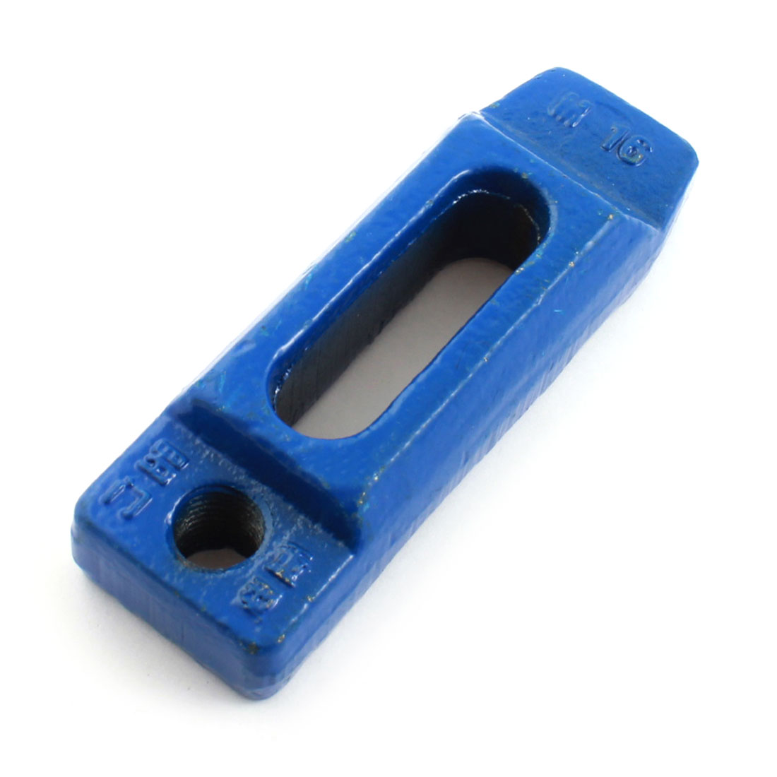 Blue Cast Iron Mould Tapped End Clamp Strap 136mm Long for M16 16mm Bolt Stud