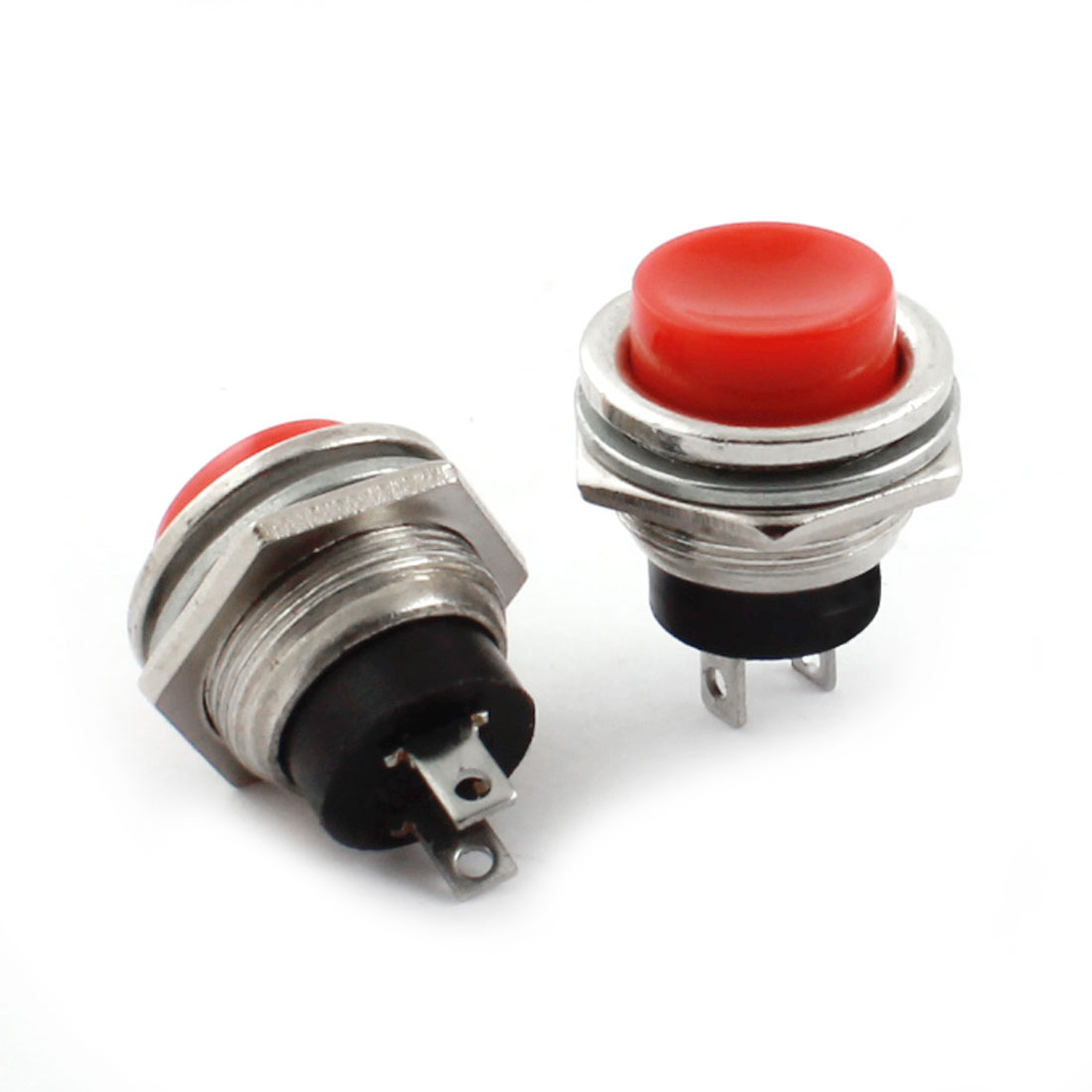 2Pcs Red Cap 16mm Thread Mounting Black SPST Momentary Push Button Switch AC125V 3A