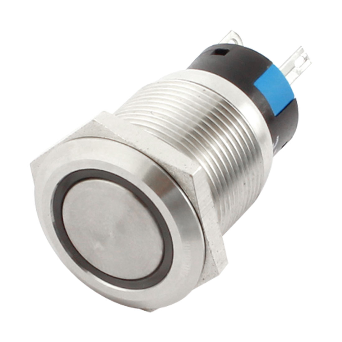 DC24V 19mm SPDT 5Pin Latching Control White LED Angel Eye Stainless Steel Pushbutton Switch