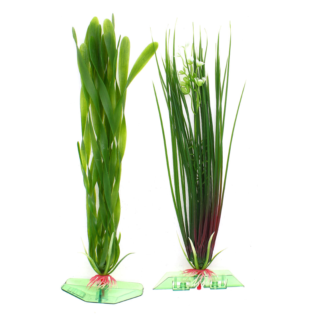 "2 In 1 10.6"" Height Green Plastic Emulation Underwater Plants Ornament for Aquarium"