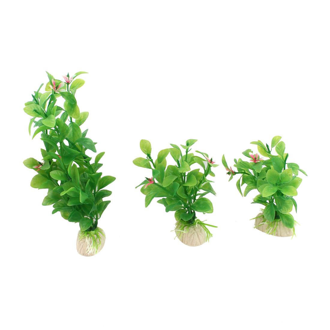 "3pcs 4"" Height Green Aquarium Ornament Plastic Underwater Grass Plants Flowers Detail"