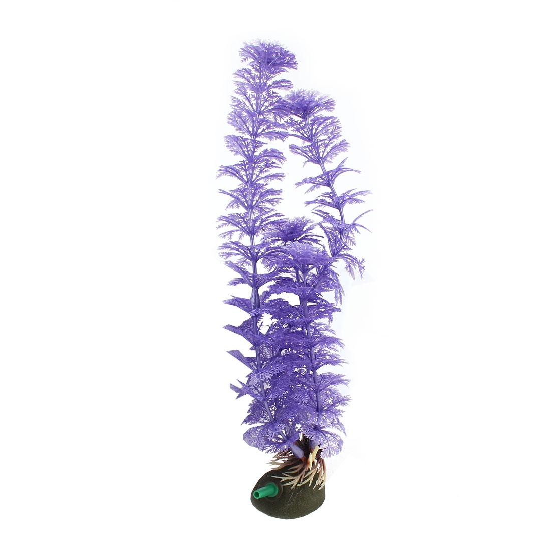 "9.8"" Height Purple Air Stone Base Emulation Aquatic Grass Plants Aquarium Decor"
