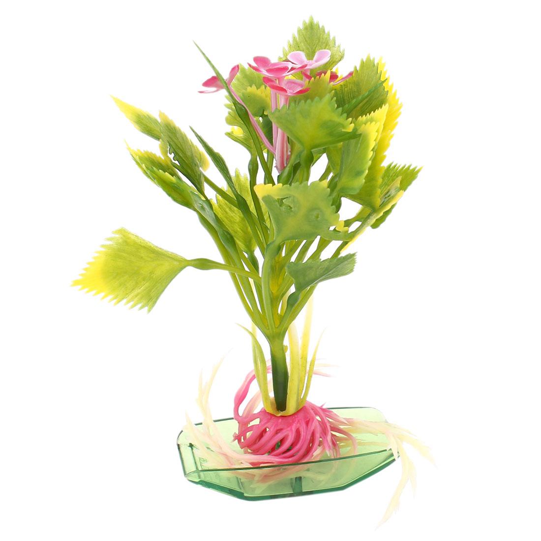 "5.1"" Height Green Aquarium Ornament Plastic Aquatic Grass Plant Flower Detailing"