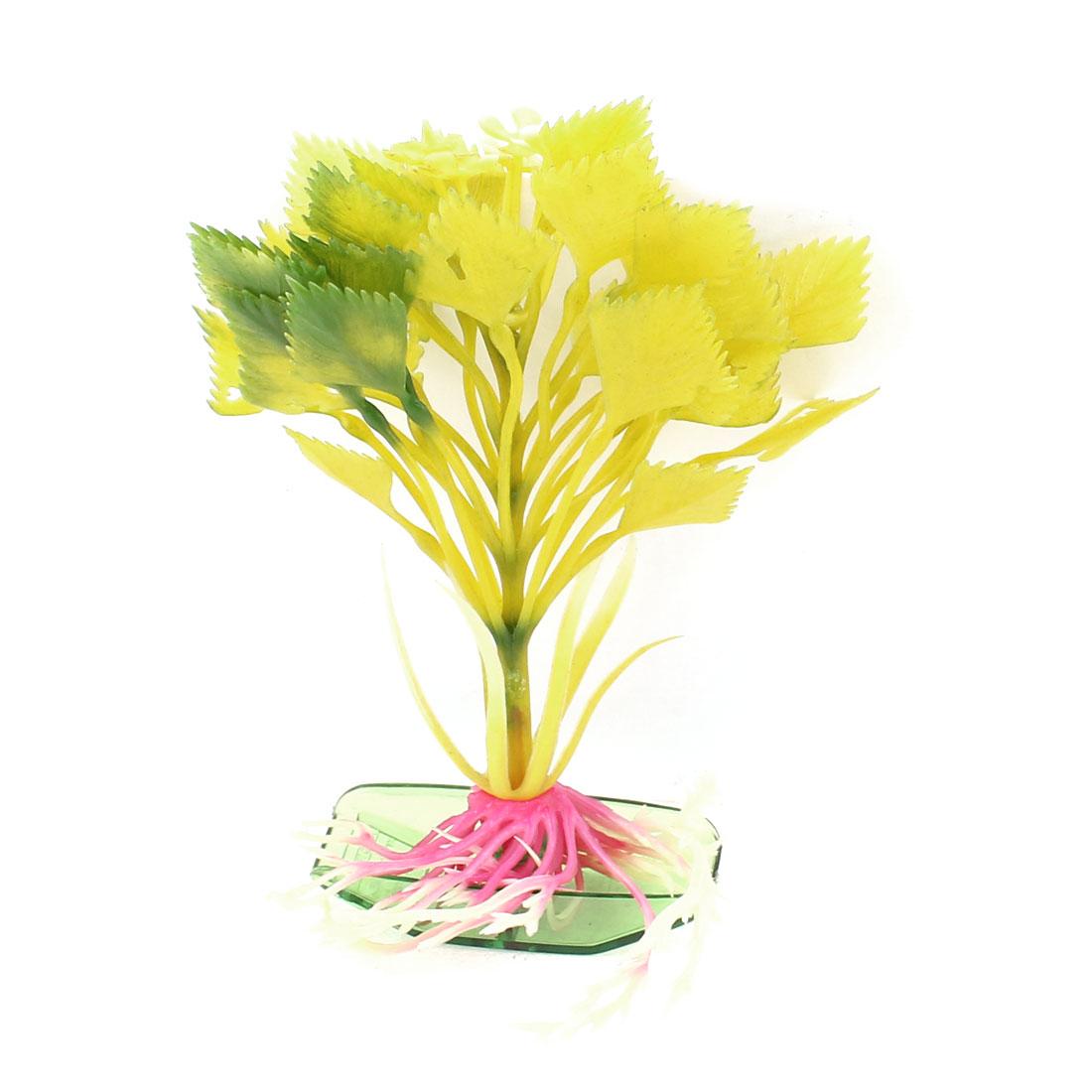 "5"" Height Yellow Aquarium Ornament Plastic Emulation Underwater Grass Plants"