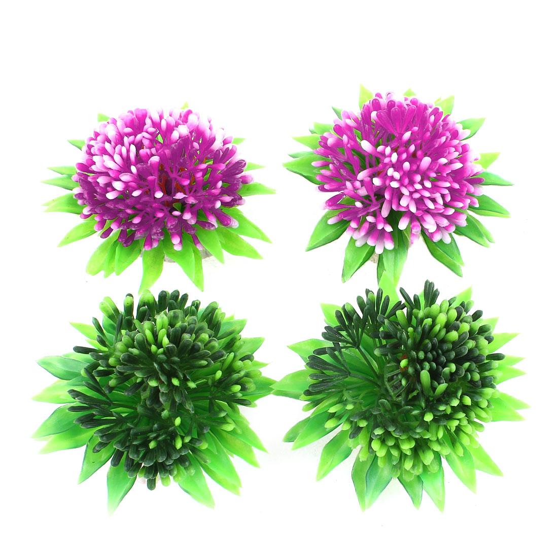 "4 PCS 2.2"" High Green Fuchsia Aquarium Decor Plastic Underwater Flowers Grass"