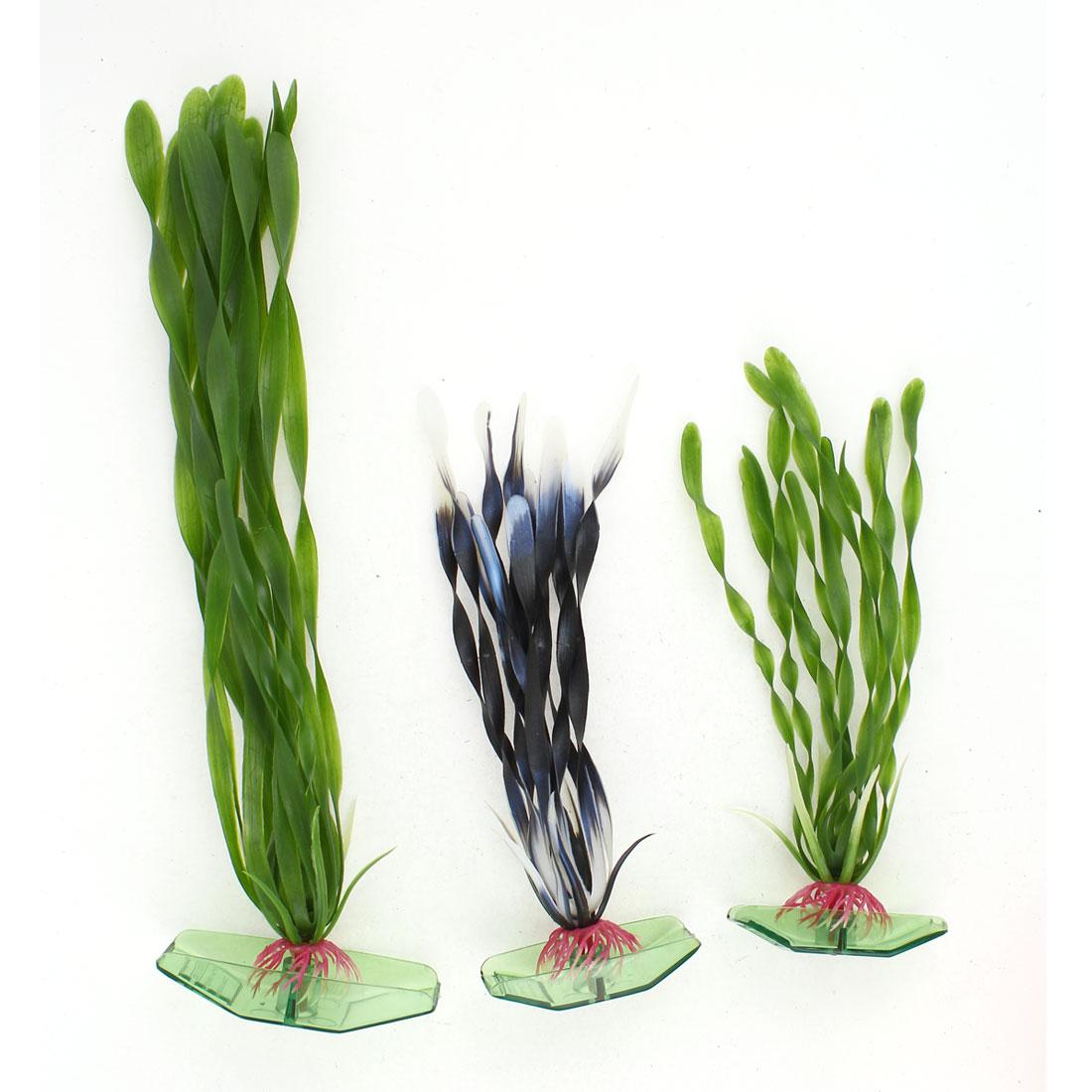 """3 Pieces 6.9"""" High Green Black White Aquarium Ornament Plastic Underwater Plants"""