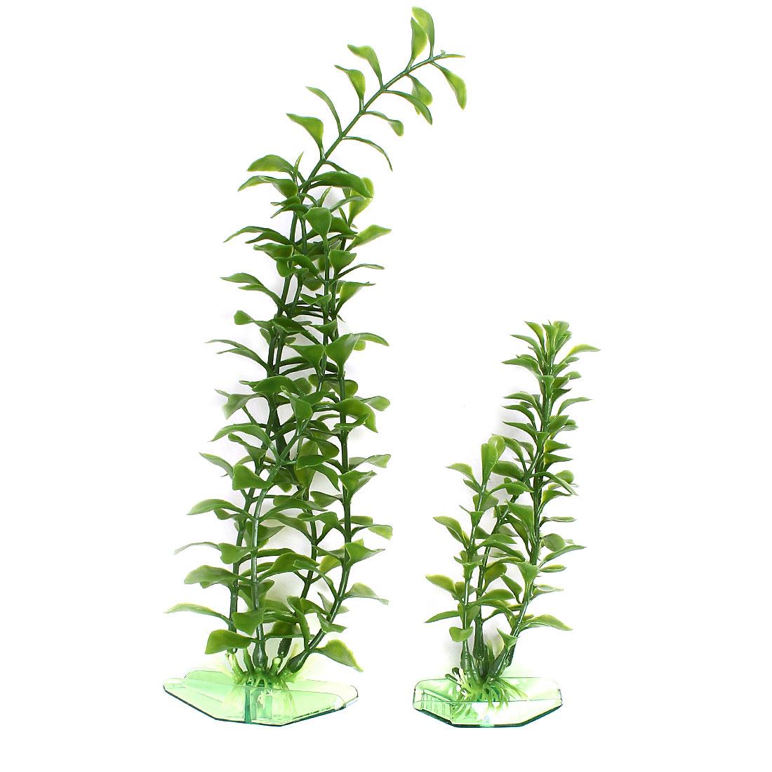 "2 PCS 6.5"" Height Green Aquarium Decor Plastic Emulation Underwater Grass Plants"