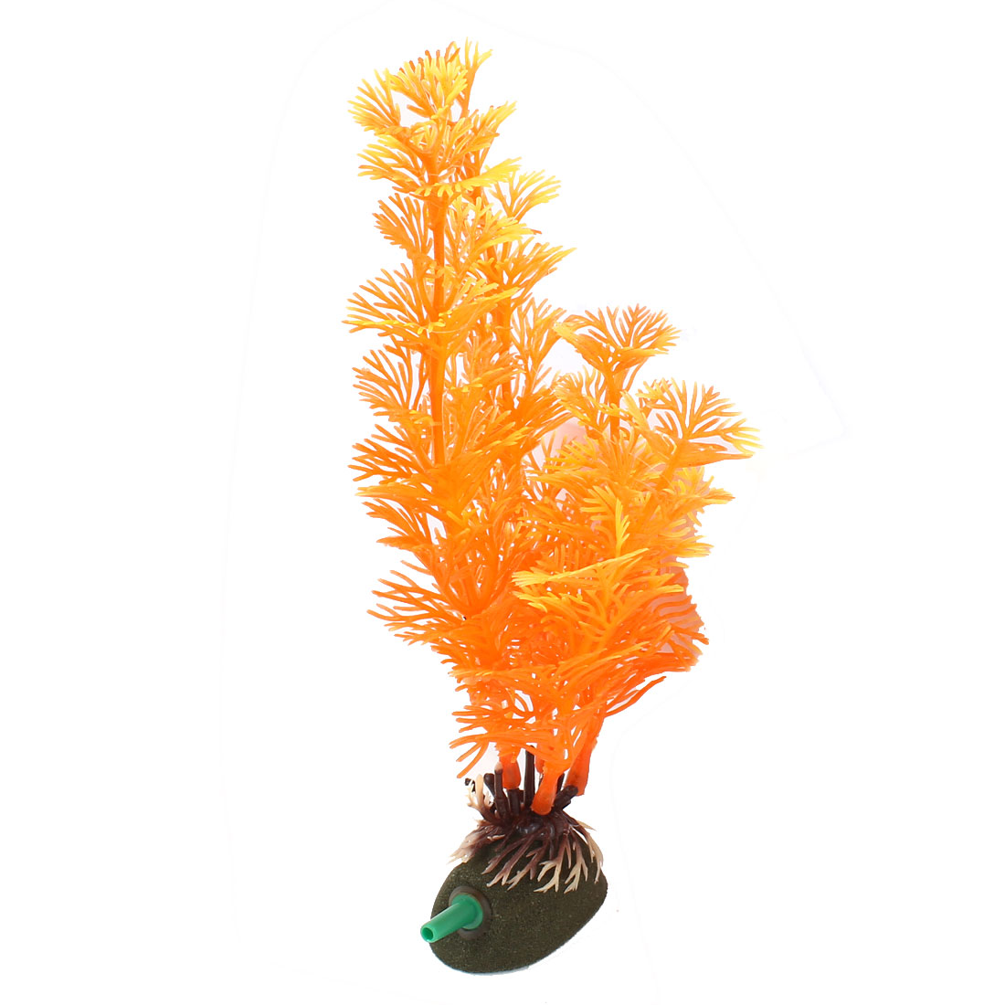 "7.7"" Height Orange Air Stone Base Emulation Aquatic Grass Plants Aquarium Decor"