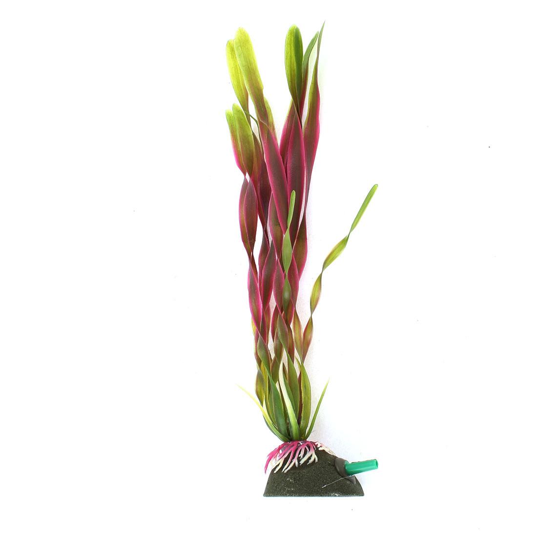 "8.7"" Height Green Red Aquarium Decor Air Stone Base Emulation Aquatic Plants"