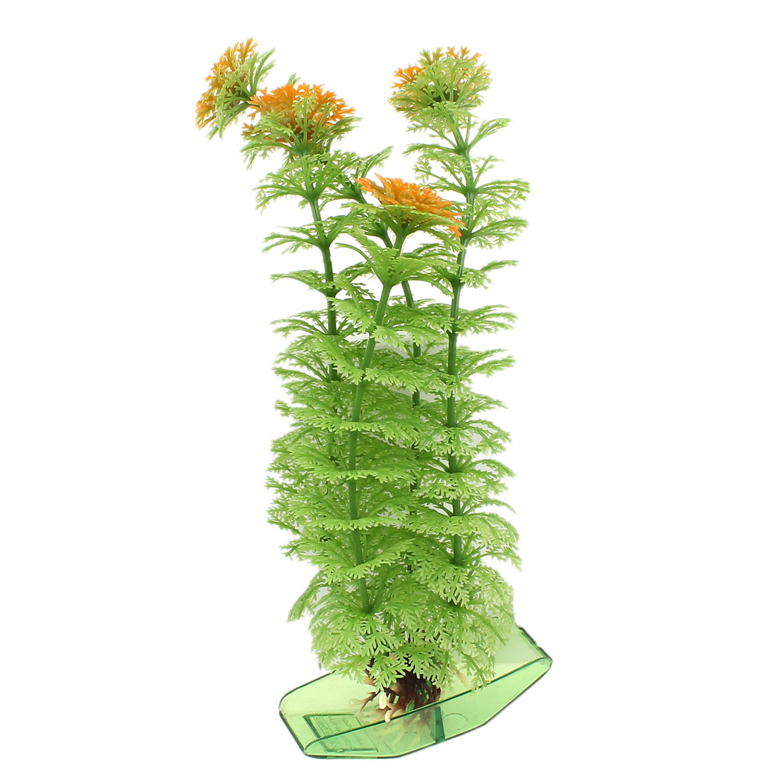 "8.1"" Hight Green Orange Fish Tank Plastic Manmade Aquatic Plant Boat Shaped Base"