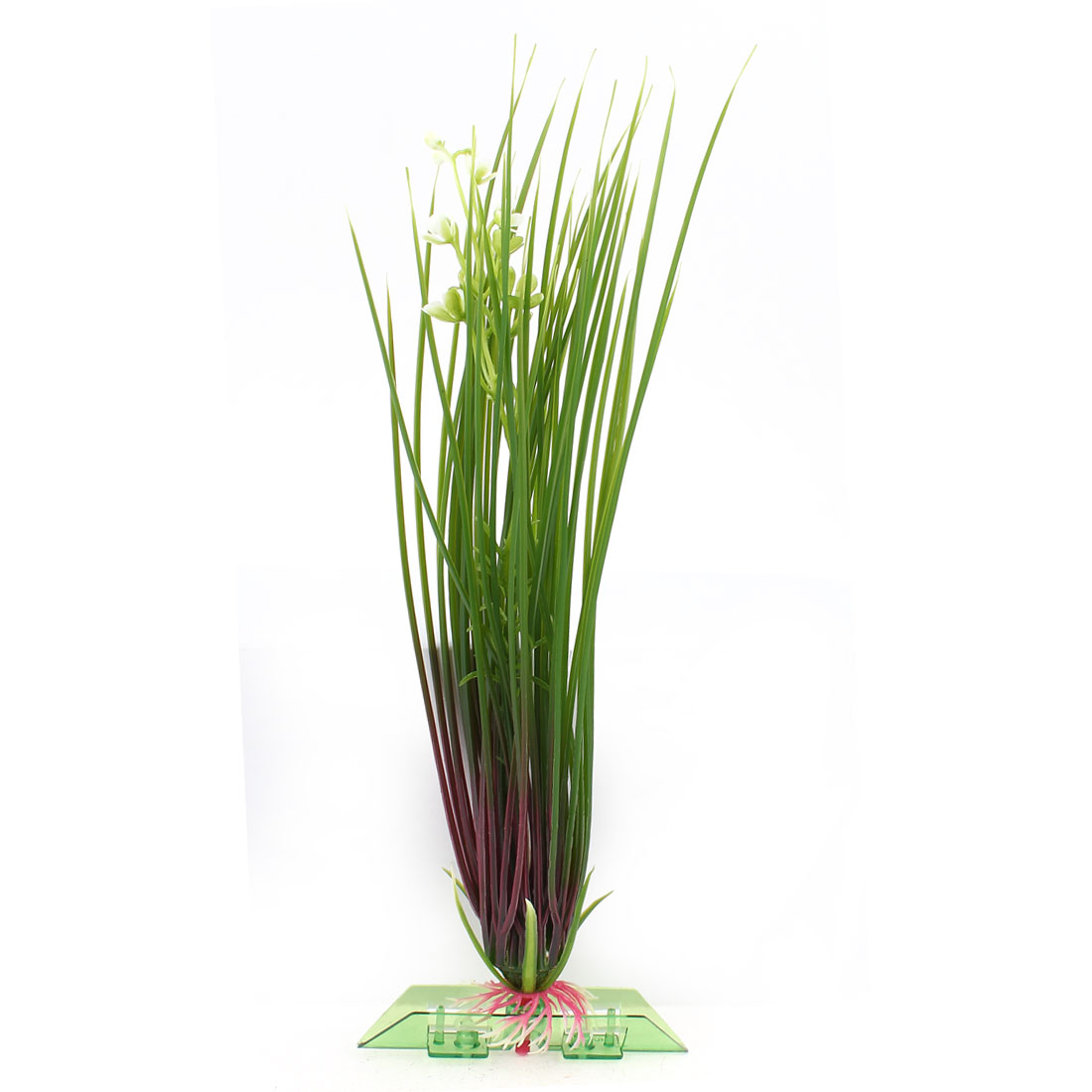 "10.4"" Height Green Aquarium Ornament Plastic Water Grass White Flower Detail"