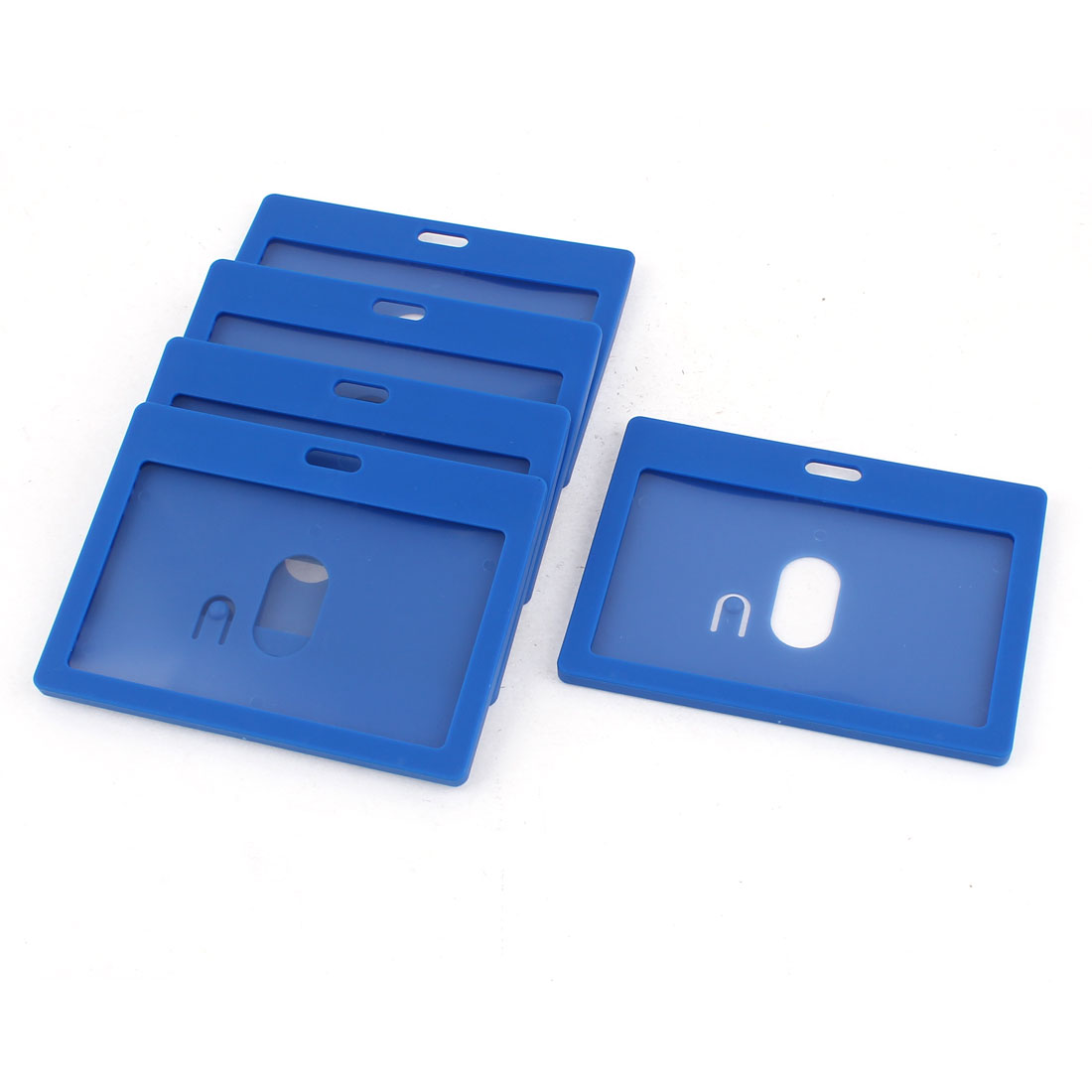 6pcs Blue Plastic Horizontal School Work ID Holder Attachment Top 9cm x 5.5cm