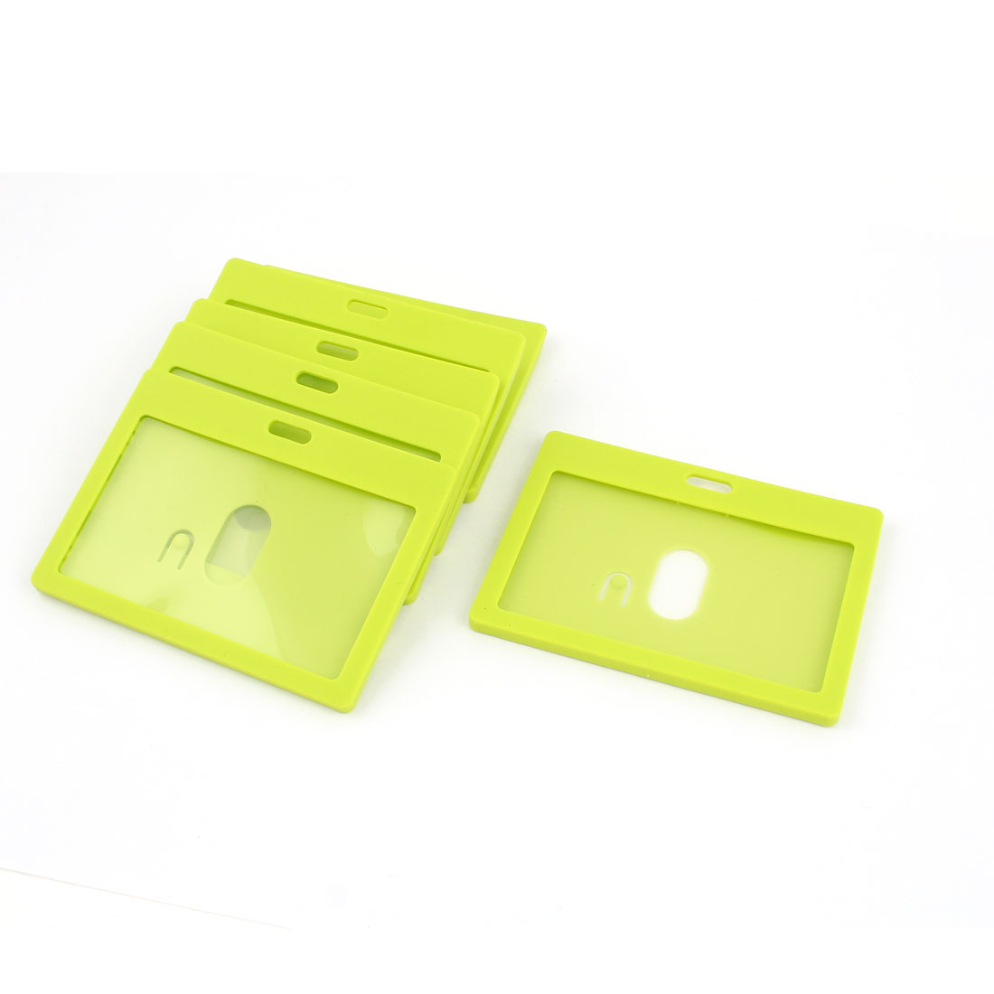 6pcs Green Plastic Horizontal School Work ID Holder Attachment Top 9cm x 5.4cm