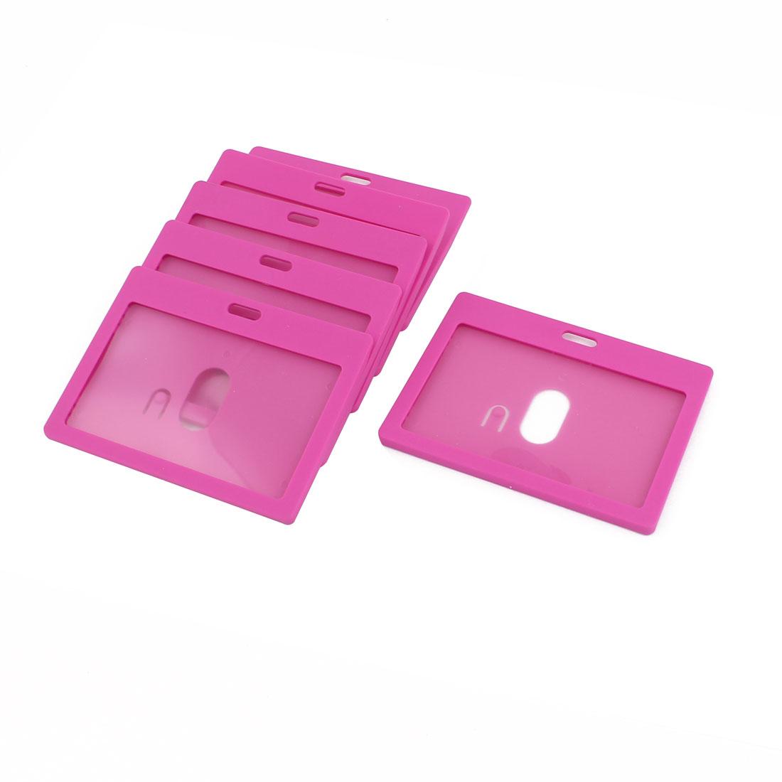 6pcs Fuchsia Plastic Horizontal School Work ID Holder Attachment Top 9cm x 5.4cm