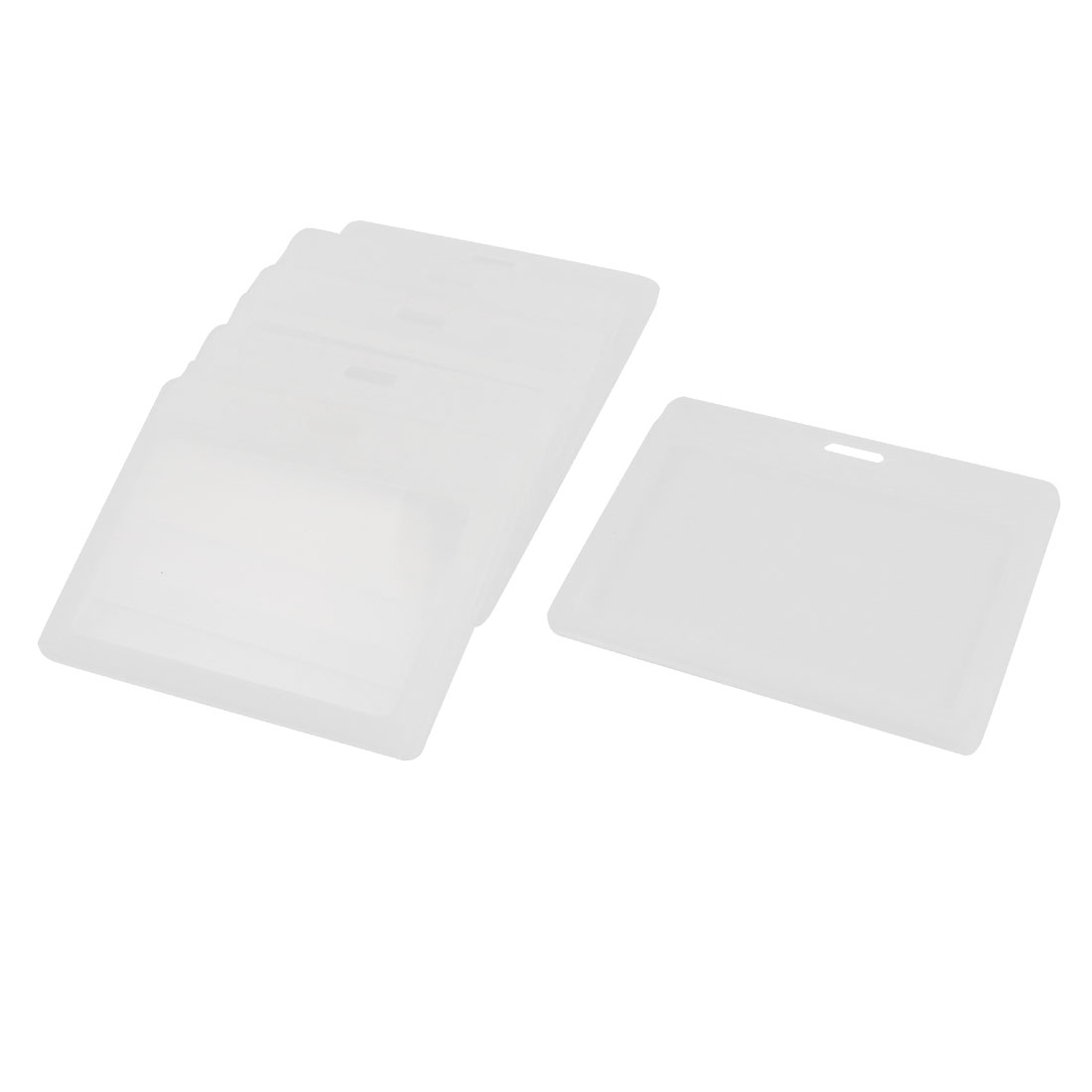 6pcs Clear Plastic Horizontal 2Cards ID Holder Attachment Top 85mm x 54mm