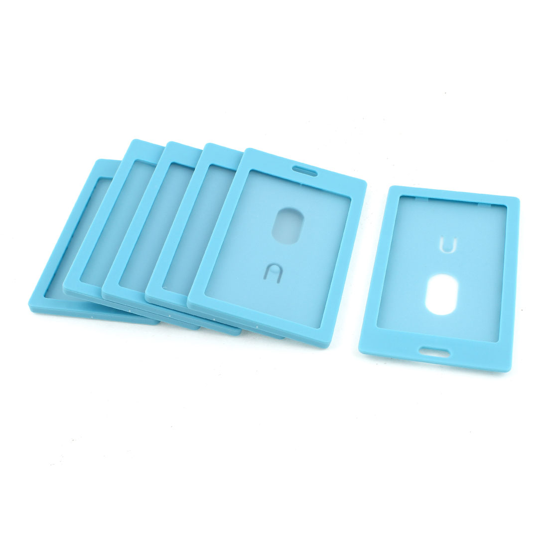 6pcs Blue Plastic Vertical School Work ID Holder Attachment Top 54mm x 90mm