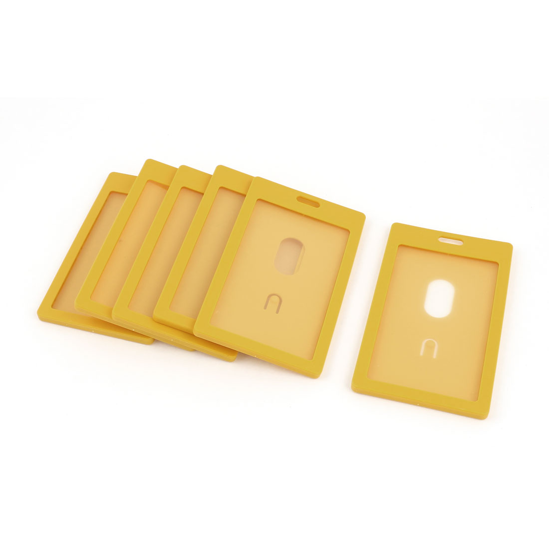 6pcs Orange Plastic Vertical School Work ID Holder Attachment Top 54mm x 90mm