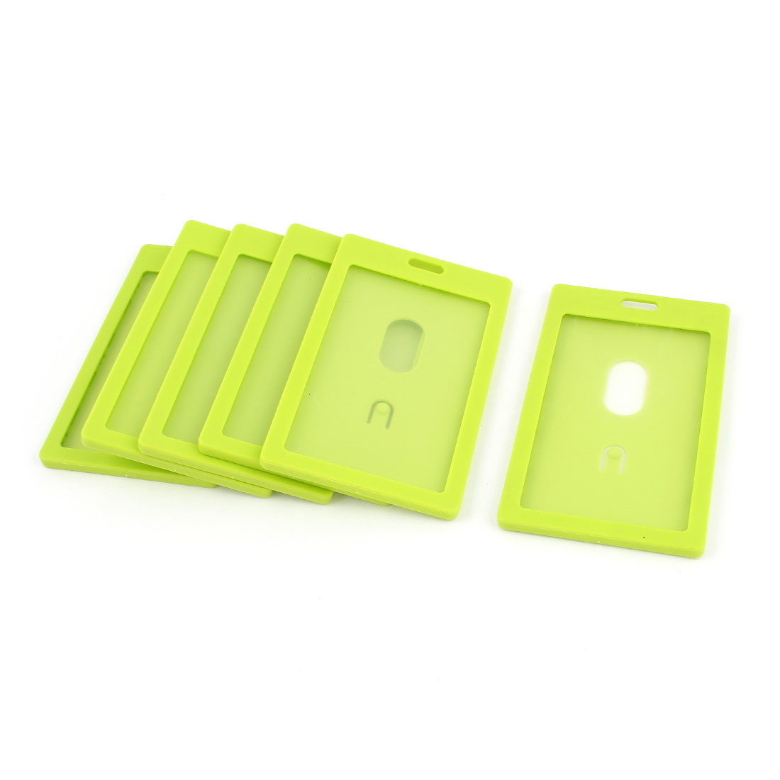 6pcs Green Plastic Vertical School Work ID Holder Attachment Top 54mm x 90mm