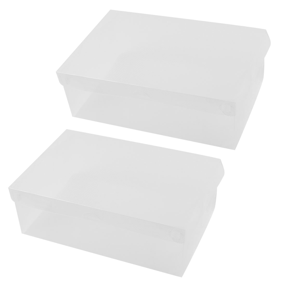 2 Pieces 28 x 18 x 10cm Clear Plastic Women Shoes Boots Storage Boxes Containers