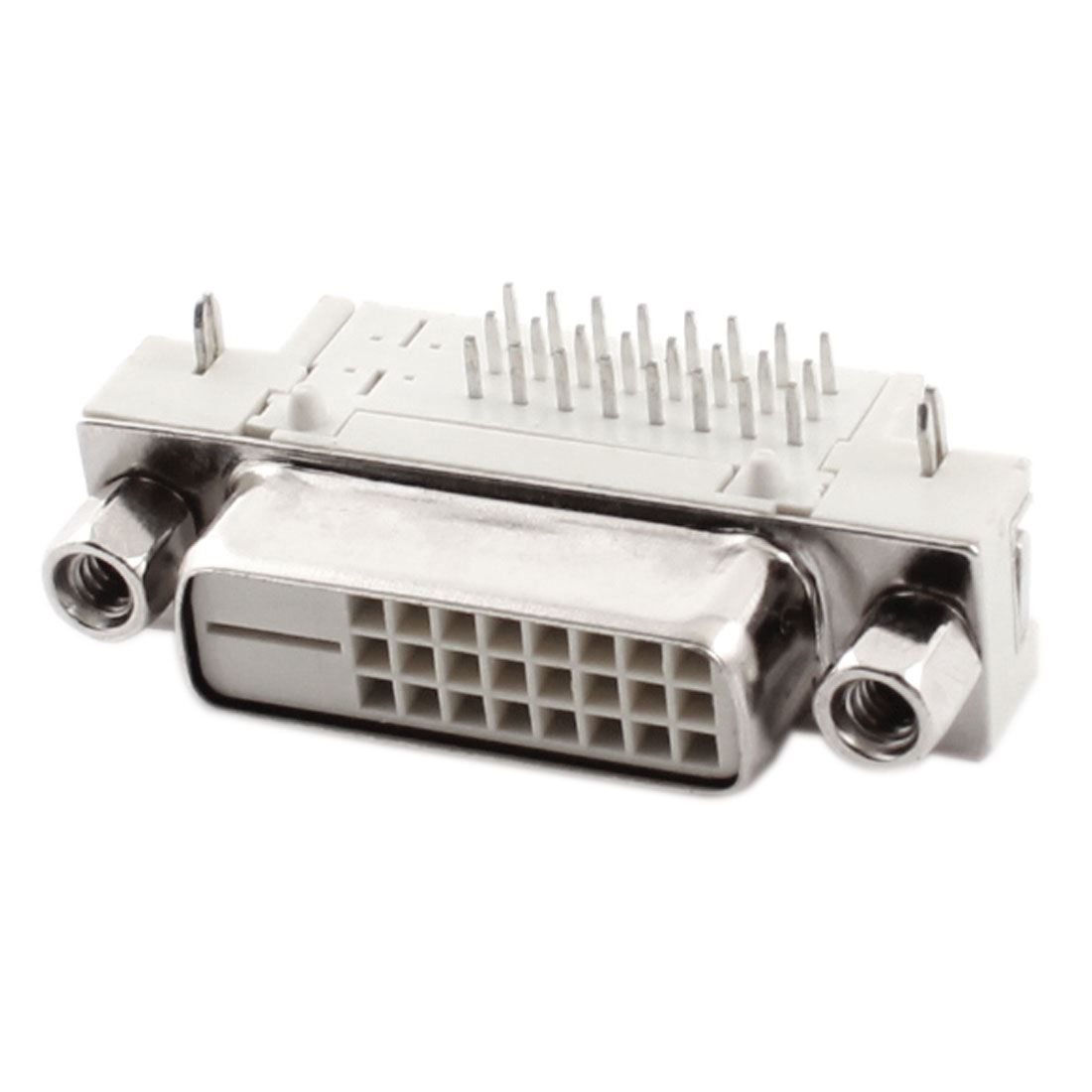 DVI-D 24+1 Pin Female Jack Right Angle Adapter Connector Gray Silver Tone