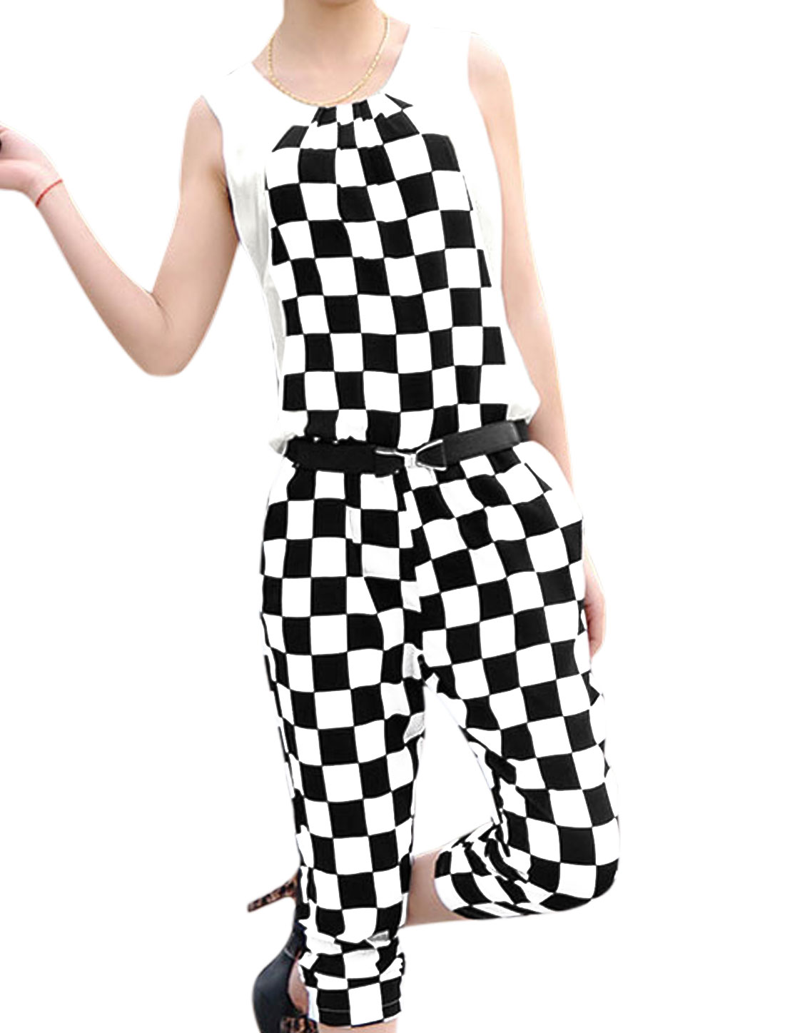 Lady Plaids Pattern Hidden Zipper Back Jumpsuit w Waist Strap Black White XS
