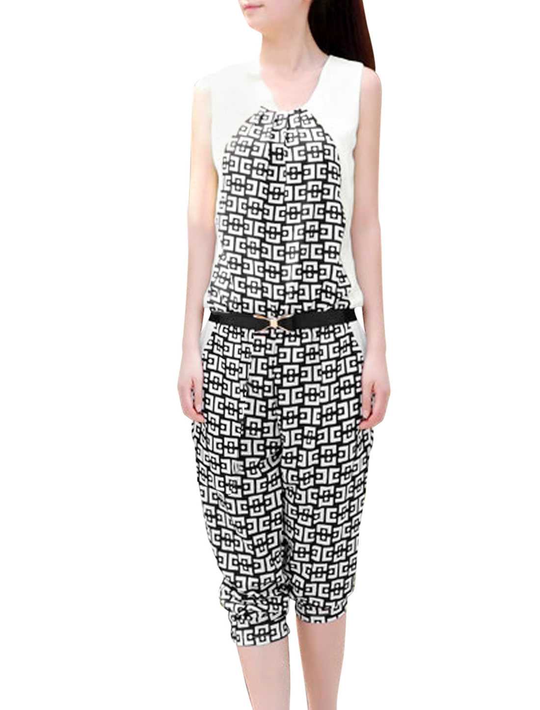 Lady Geometric Pattern Chiffon Panel Jumpsuit w Waist Strap Black White XS