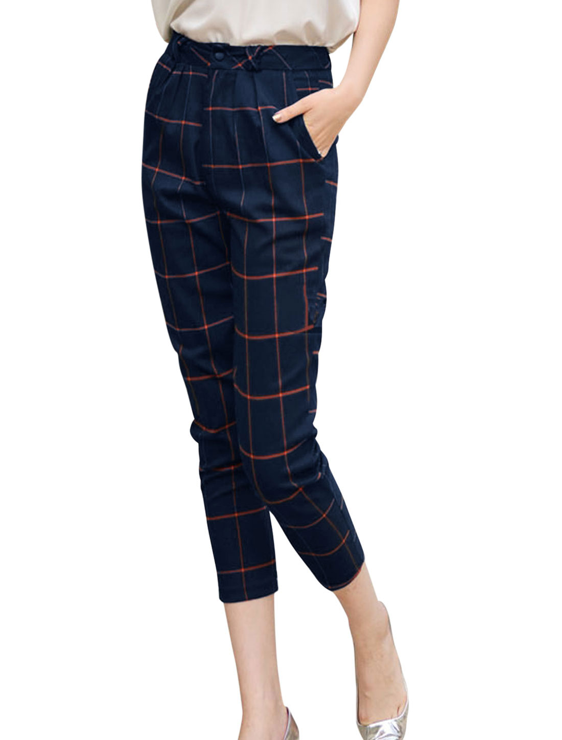 Lady Plaids Pattern Zip Fly Slim Fit Capris Pants w Belt Navy Blue M