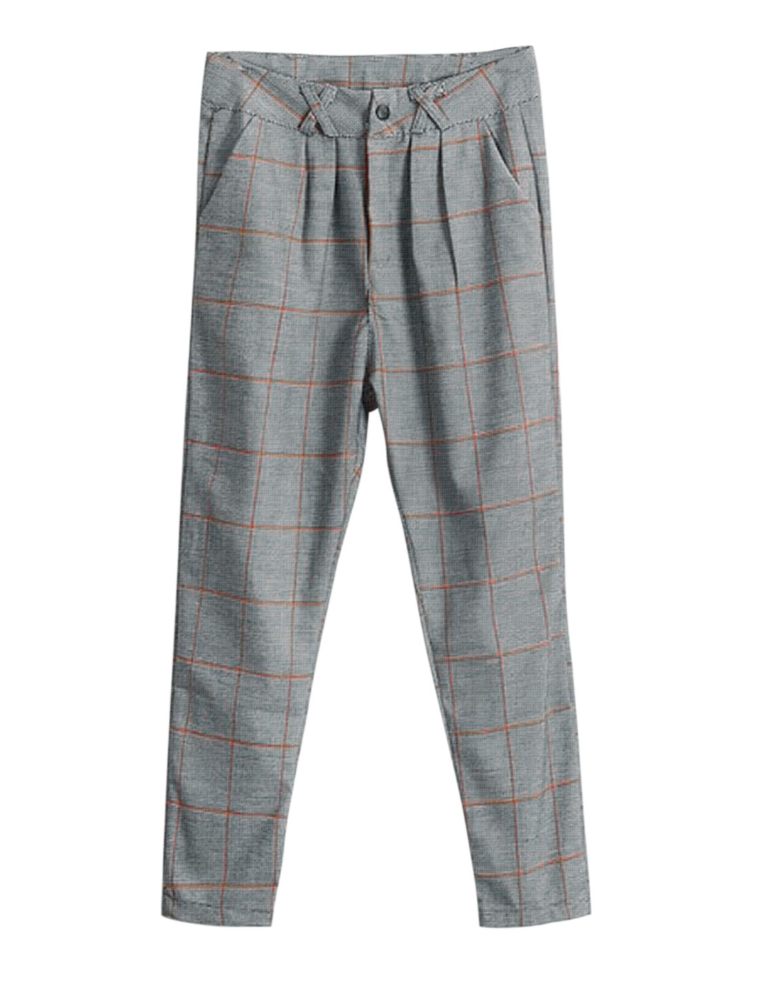 Slim Fit Casual Plaids Pattern Zip Fly Capris Pants w Belt for Lady Gray M