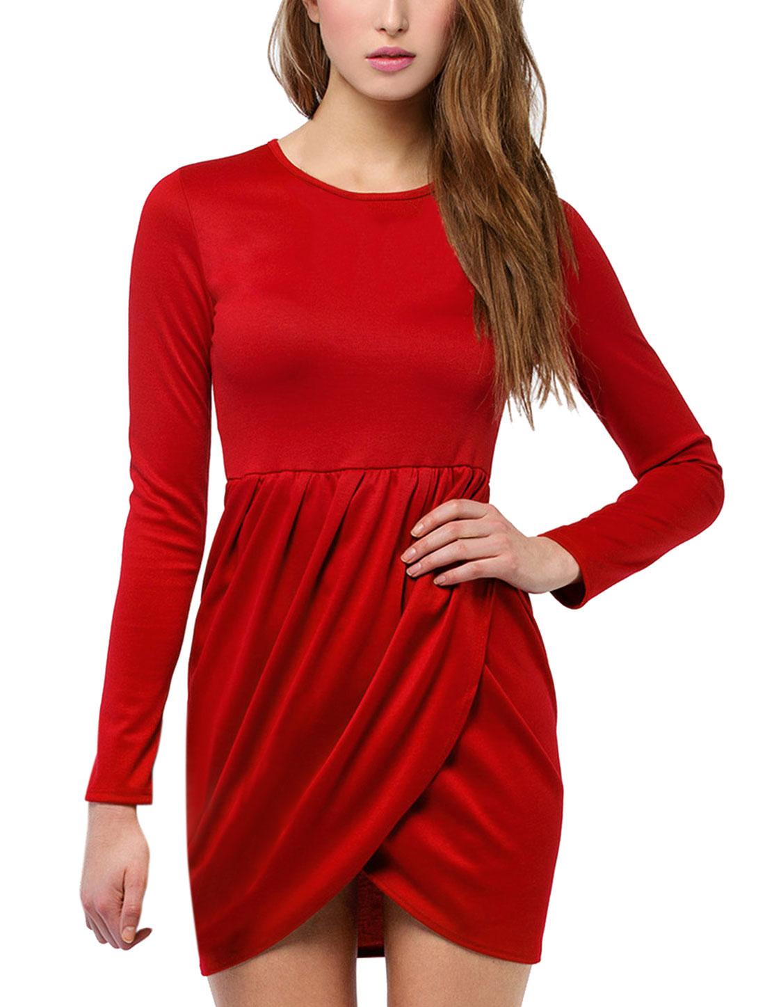 Women Long Sleeve Irregular Cross Hem Short Dress Red M