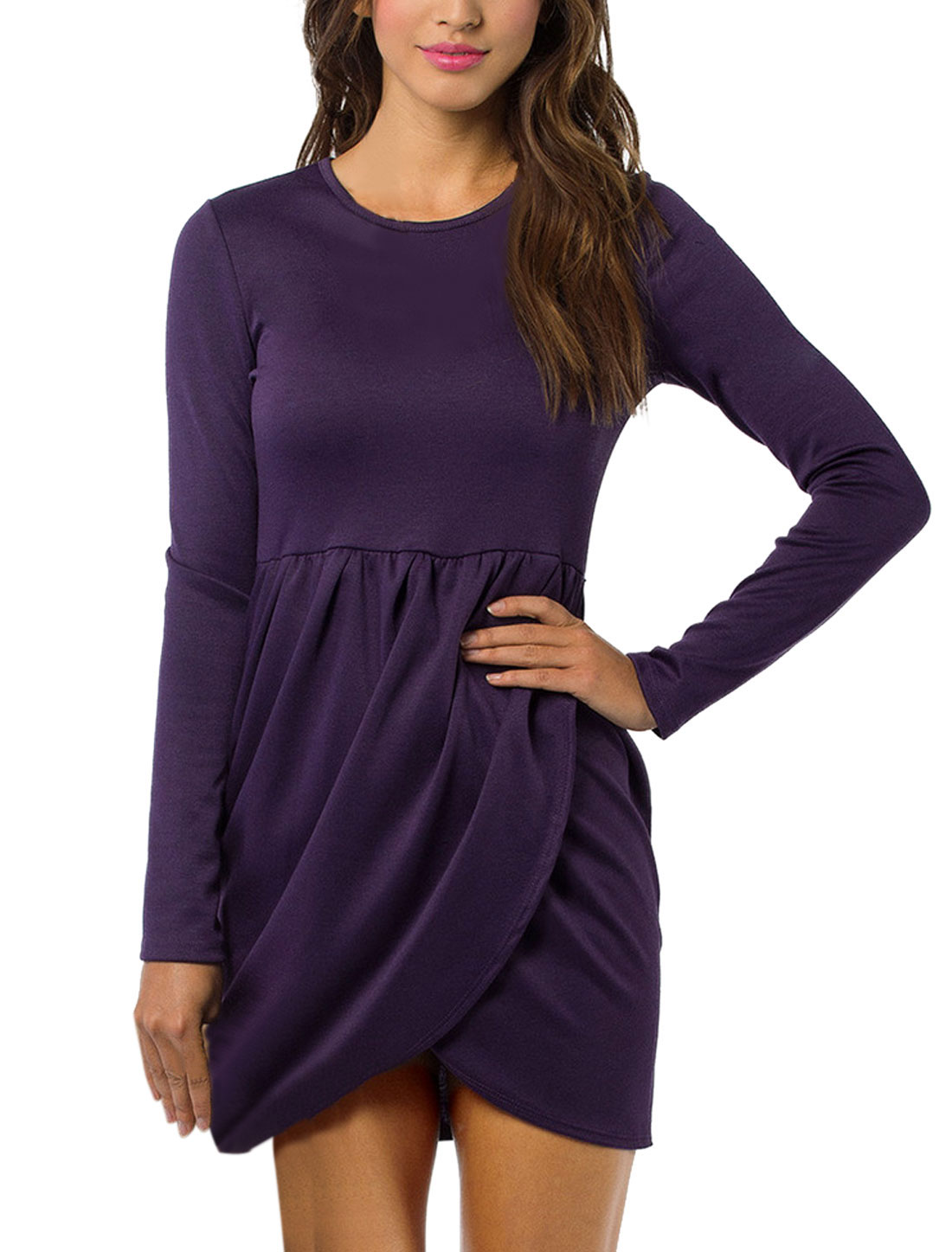 Lady Stretchy Waist Irregular Cross Hem Short Dress Dark Purple M
