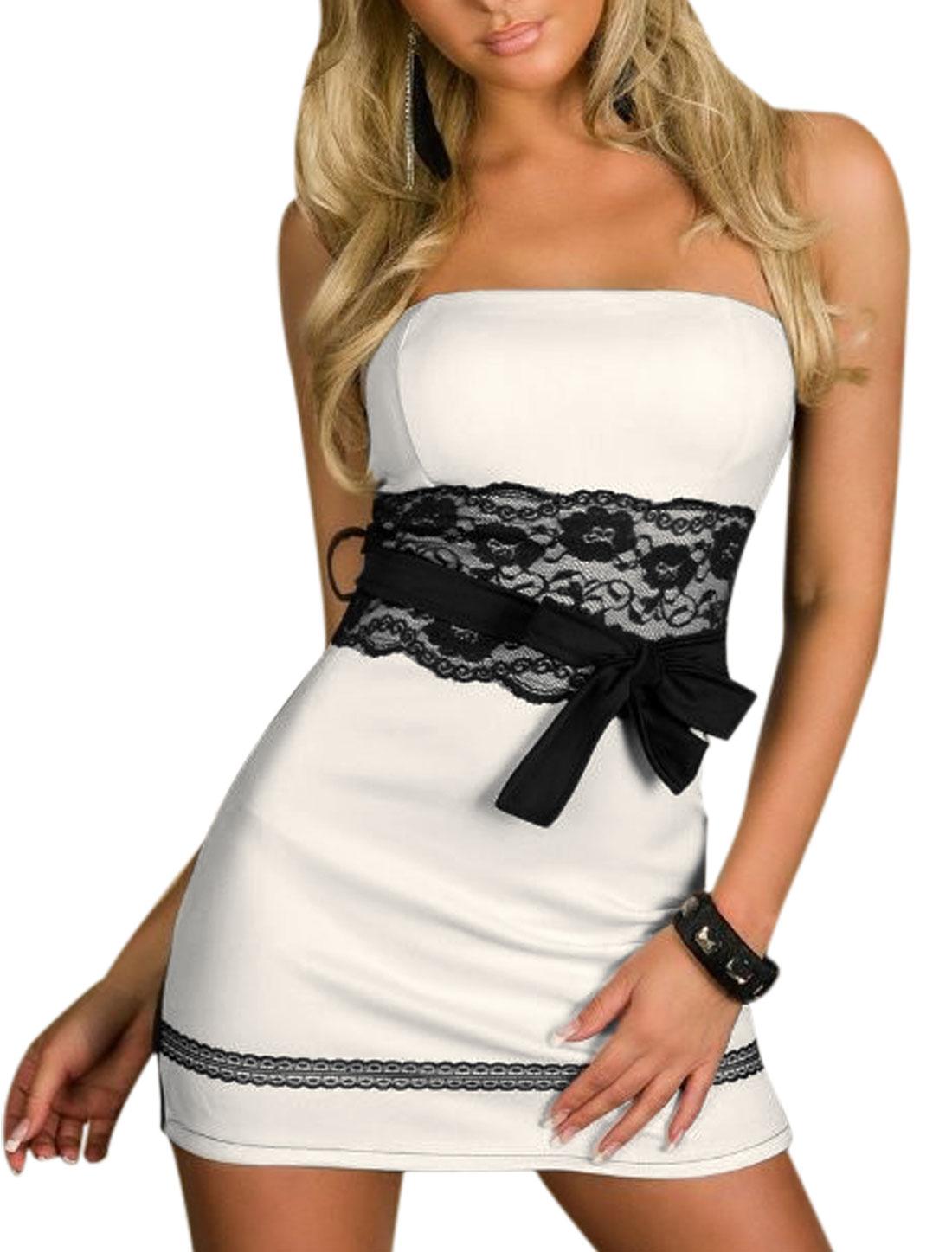 Lady Hidden Zipper Back Mini Strapless Dress w Waist Strap White Black L