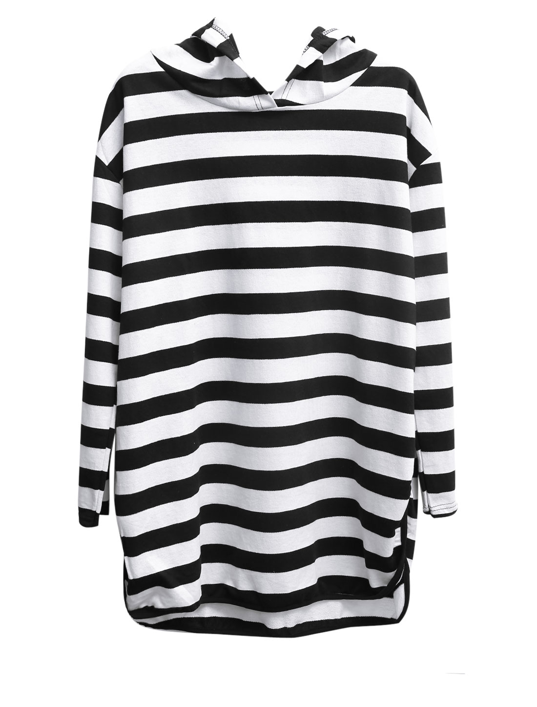 Women Stripes Split Sides Long Sleeves Hooded Sweatshirt Black White XS